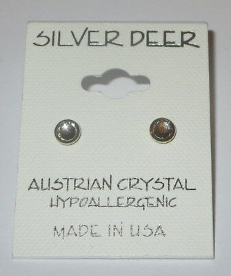 Framed Flatback Earrings Pierced Austrian Crystal Hypoallergenic 5mm New USA Framed Quartz Earrings