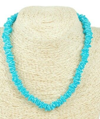 Handmade Turquoise Necklace (NEW handmade LIGHT BLUE (turquoise) PUKA SHELL Chips Natural Necklace 18
