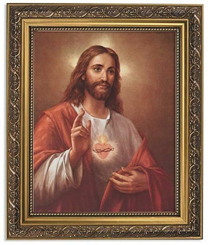 Ornate Gold Tone La Fuente Sacred Heart of Jesus Framed Portrait Print, 13 Inch