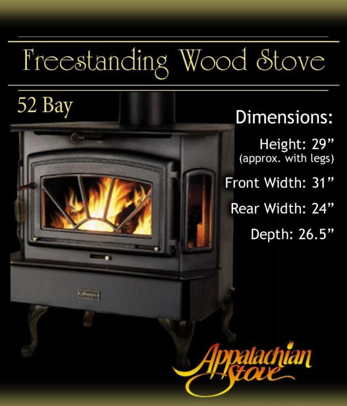 Appalachian 52 Bay FREESTANDING Wood Stove Fireplace