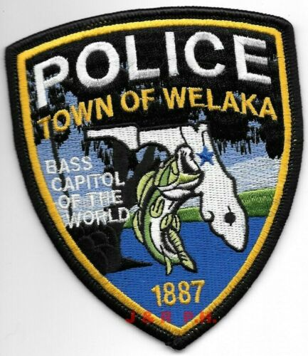 "Welaka, Florida  ""Bass Capitol""  (3.5"" x 4"" size)  shoulder police patch (fire)"