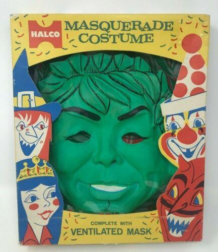 Vintage! HALCO Jolly Green Giant MASQUERADE Costume & Mask w/ Original BOX #719
