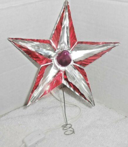 Antique Christmas Aluminum Foil Reflector Tree Topper w Light Bulb~Elect Cord