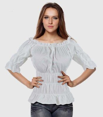 White Steampunk Rouched Gypsy Pirate Wench On Off - Plus Size Bluse Pirat
