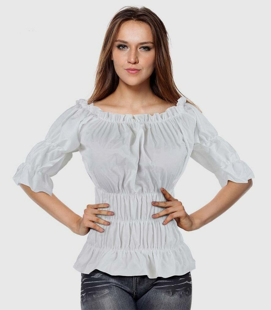 Costume Shirt Blouse Tops Women Ladies Off shoulder Solid Wench Caribbean Pirate