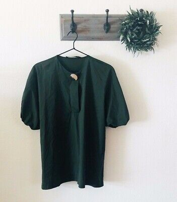 Zara Hunter Green Button Front Blouse M