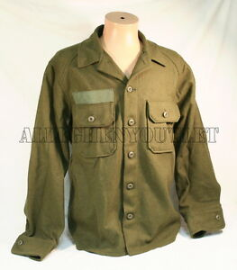 2-Military-U-S-Army-Olive-Green-Cold-Weather-Field-Shirt-Wool-M-MEDIUM-NICE
