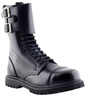 GRINDERS CS Black 14 Eyelet Camelot Twin Buckle Unisex Safety Steel Toe Boots 14 Eyelet Steel Toe Boot