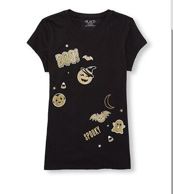 Girls Short Sleeve Glitter Halloween Emoji Graphic TeeSize 5/6](Glitter Graphics Halloween)