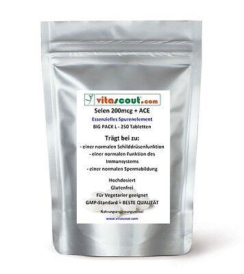 250 Tabletten Selen / Selenium 200 mcg + Vitamine ACE A-C-E - vegan - PN: 021211