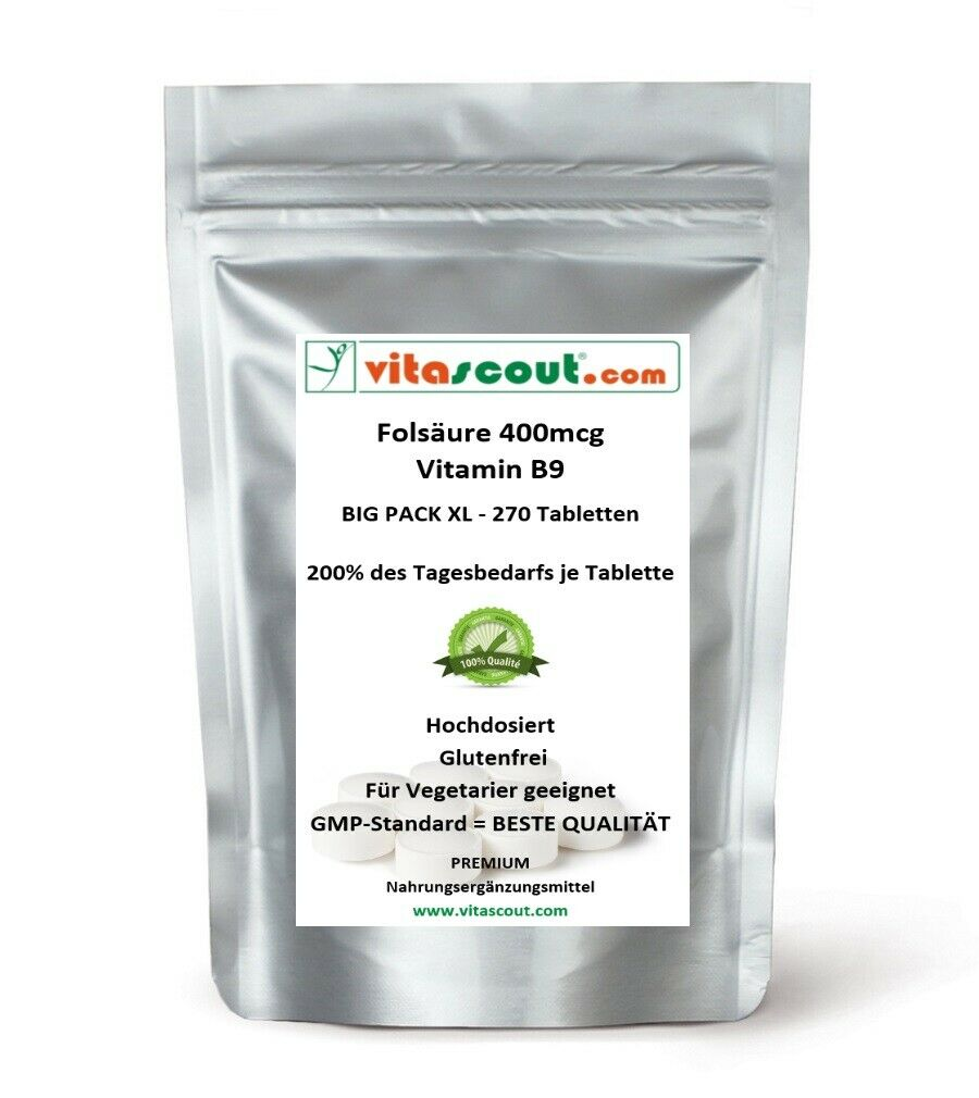 Folsäure 270 Tabletten je 400mcg - Folic Acid Vitamin B9 - 200% des Tagesbedarfs