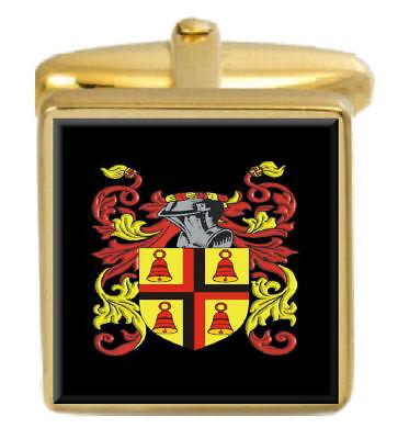 Drum Irland Familie Wappen Familienname Gold Manschettenknöpfe Graviert Kiste