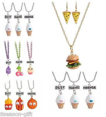 HX 1Set cute simulation food good friends children necklace jewelry suits - Food Necklaces