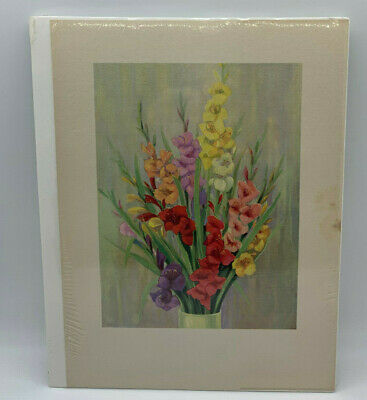 Antique Floral Print Gladiolus Flowers Red Yellow Orange Yellow Pink Art -