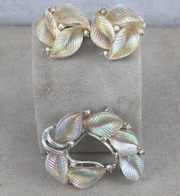 Vintage Lisner Molded Iridescent Glass w/Match Rhinestone Pin & Earring Set