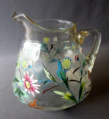 """Small ANTIQUE 19th Century VICTORIAN ERA Hand Enameled 5"""" GLASS PITCHER 1890"""