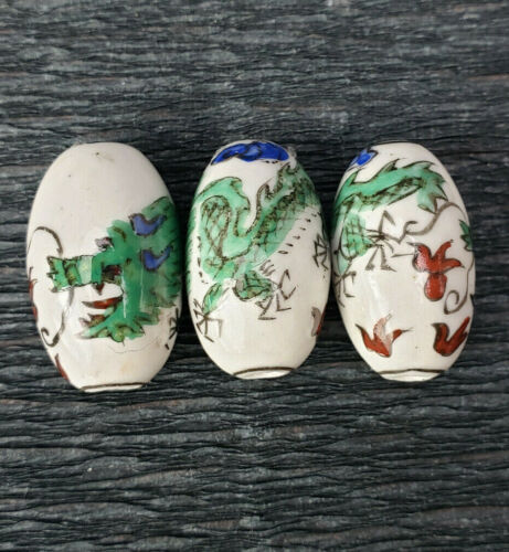 2 Rare Chinese Porcelain Hand Painted Green Dragon Beads 2Pcs