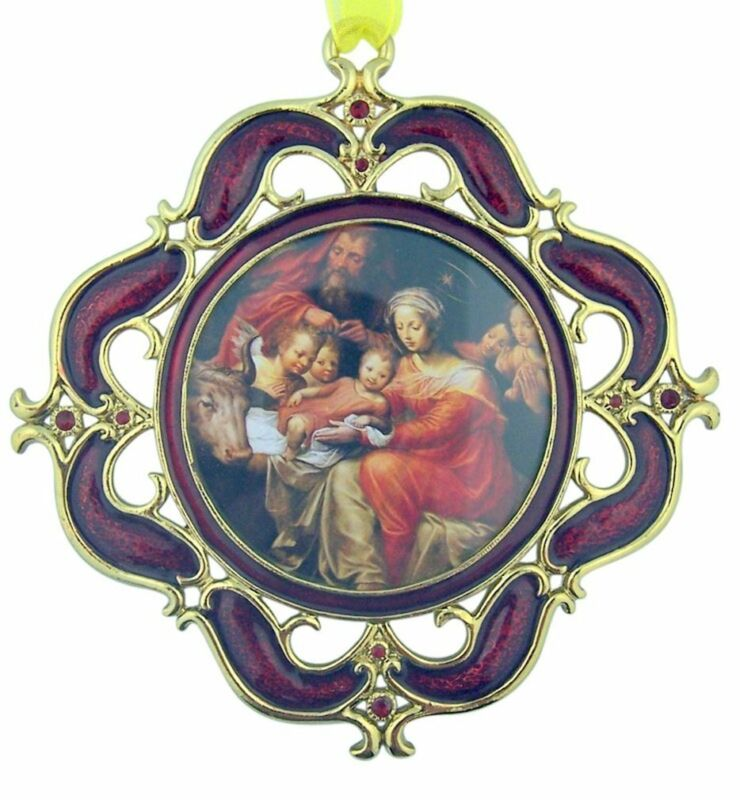 The Holy Family Nativity Christmas Icon Ornament in Gold Tone Red Enamel Frame
