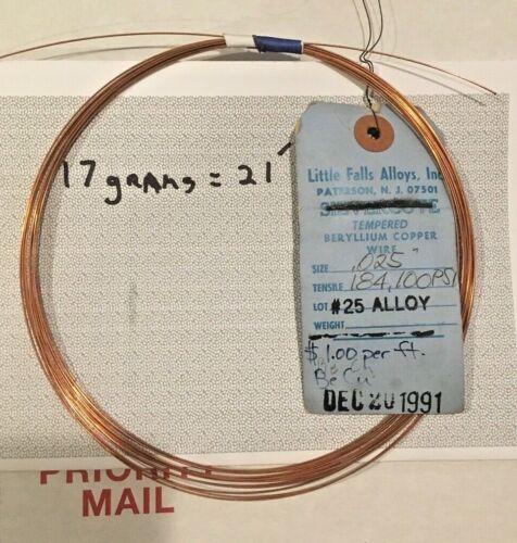"025""  Beryllium Copper spring wire 20 FEET"