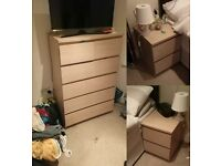 Ikea Drawer cabinet bedside table set - Ikea MALM £80 - mint condition