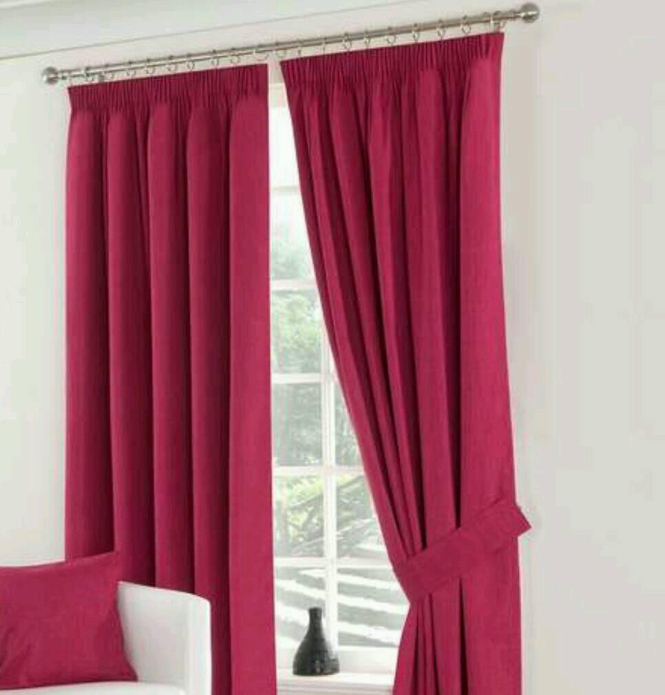 Fuchsia Pink Blackout Pencil Pleat Curtains 116cm x 137cm