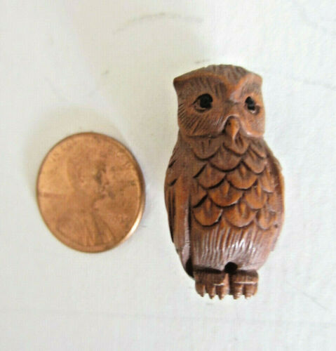 Handcarved Boxwood Owl Asian Netsuke