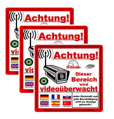 3 x ACHTUNG! Videoüberwachung Aufkleber, Warnaufkleber Hinweis Kamera 6 Sprachen