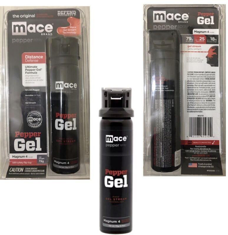 MACE 18 FT MAGNUM 4 DEFENSE Pepper STICKY GEL Spray FLIPTOP Self POLICE Defense