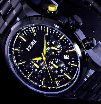 s.Oliver Multifunktion Herren Armband Uhr Schwarz Gelb Dualtimer Multi-timer