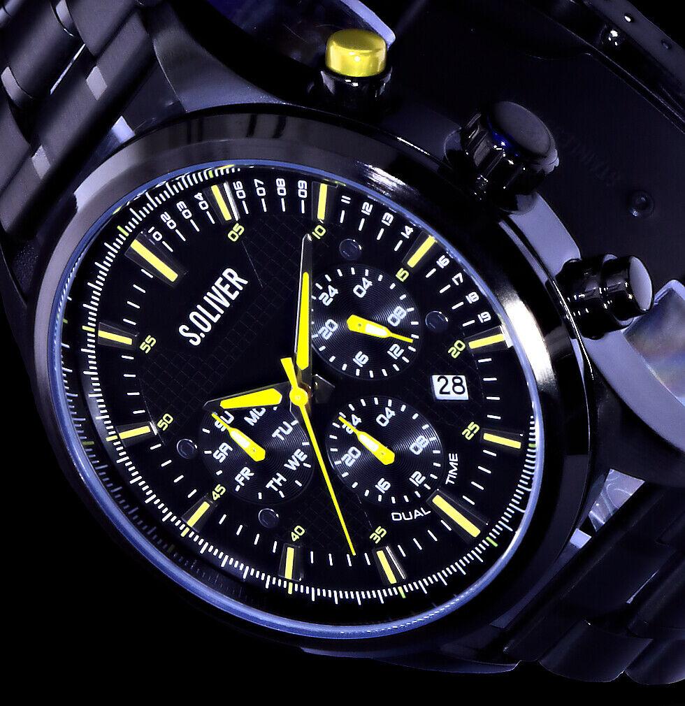 s.Oliver Multifunktion Herren Armband Uhr Schwarz Gelb Dualtimer