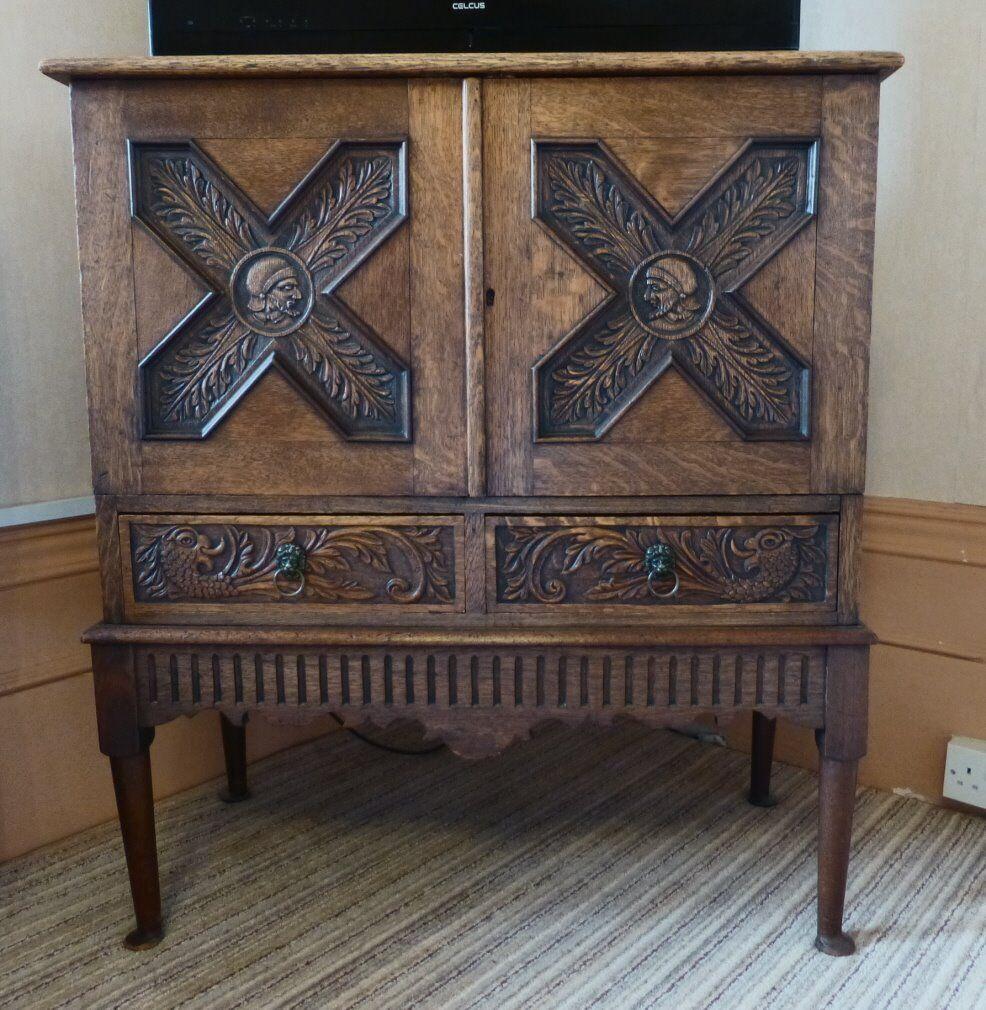 Antique decorative medium oak drinks cabinet | in Folkestone, Kent ...