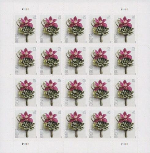 Contemporary Boutonniere Sheet of 100 Forever Postage Wedding Stamps