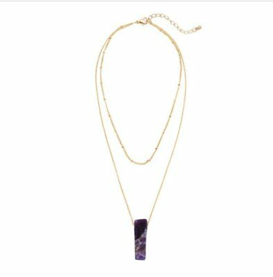 Raw Rough Amethyst Crystal Layered Pendant Chain Necklace Purple Choker Gold