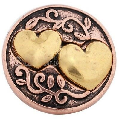 Copper Gold Double Hearts 20mm Snap Charm For Ginger Snaps Magnolia Vine
