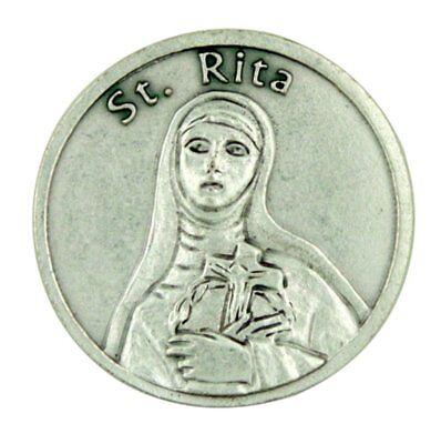 Patron Saint St Rita of Cascia Pocket Token with Forgiveness Prayer, 1 1/8