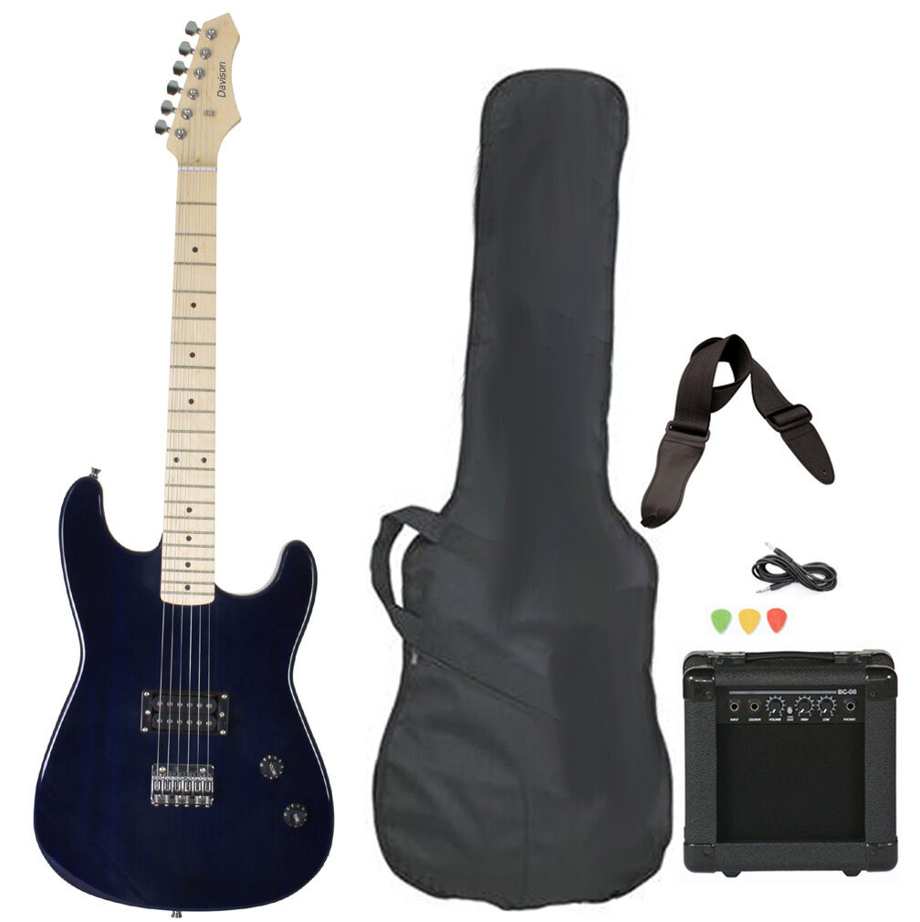 full size blue electric guitar package