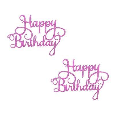 2 Pack Happy Birthday Cake Topper Birthday Party Event Glitter Decoration PINK - Pink Birthday Cake