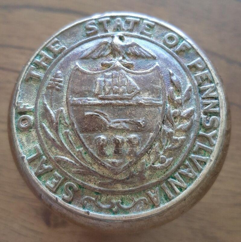 Antique Door Knob Pennsylvania State Seal P 13000 Rare Brass Large Harrisburg