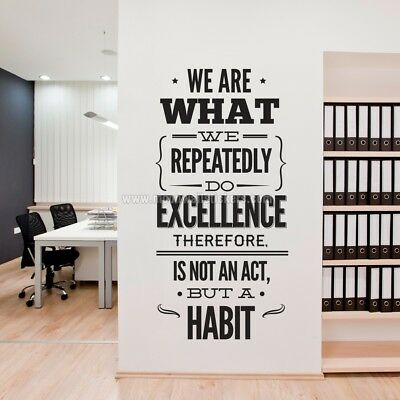 WE ARE WHAT WE REPEATEDLY DO Office Removable Wall Decal Quote Stickers Decor](Office Decorate)