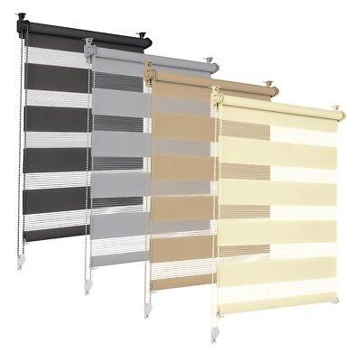 Duorollo Doppelrollo Sonnenschutzrollo Klemmfix Rollo für Fenster Tür Seitenzug