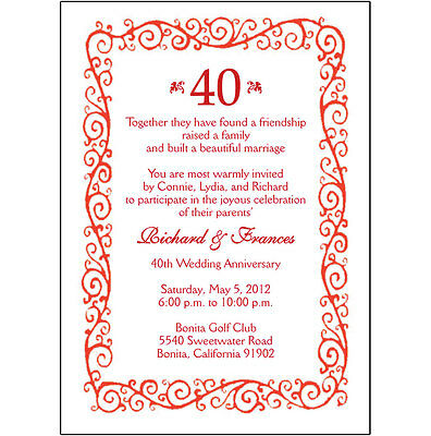 40th Wedding Anniversary Invitations - 25 Personalized 40th Wedding Anniversary Party Invitations  - AP-002