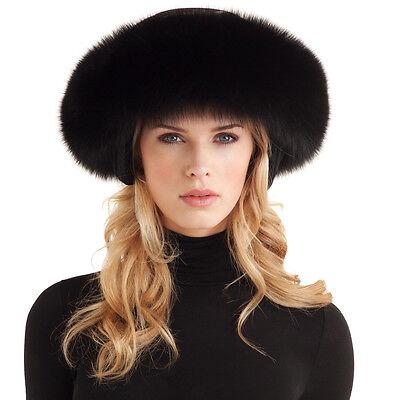 Womans Winter BLACK Premium Fox Fur SKI Helmet Shawl SCARF Ear Warmer HEADBAND