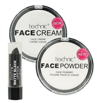 Technic Halloween Make Up Set White Foundation Cream & Powder & Black Lipstick