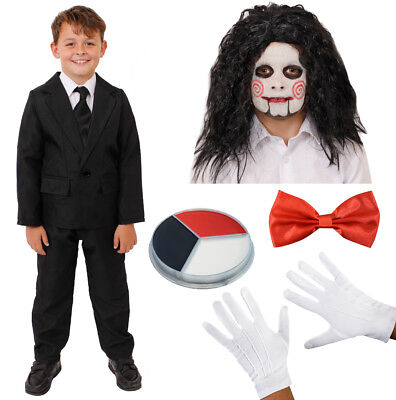 CHILD PUPPET COSTUME HALLOWEEN FANCY DRESS SUIT FACE PAINT WIG BOW TIE GLOVES