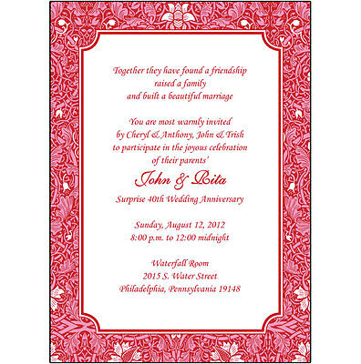 40th Wedding Anniversary Invitations - 25 Personalized 40th Wedding Anniversary Party Invitations  - AP-014