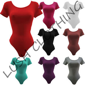B16-WOMENS-SHORT-SLEEVE-PLAIN-STRETCH-BODYSUIT-DANCE-LEOTARD-TOP-UK-SIZE-8-26