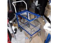 Heavy Duty Metal Wire Basket Trolley / Warehouse Picking Distribution Cart