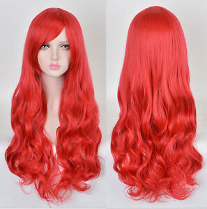 New Hot Red Long Curly Disney Little Mermaid Princess Ariel Cosplay Wig