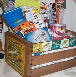 Fishing gift basket ebay fishing gift basket wood crate lures hooks beef jerky bobbers nuts bait knife negle Images