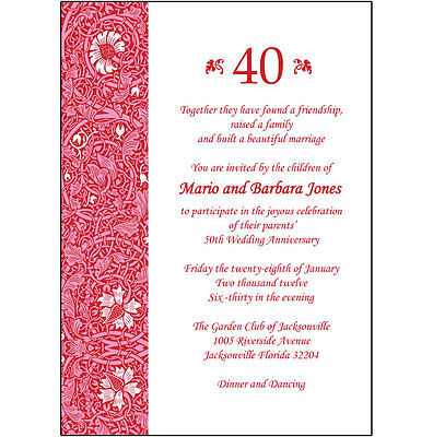 40th Wedding Anniversary Invitations - 25 Personalized 40th Wedding Anniversary Party Invitations  - AP-013